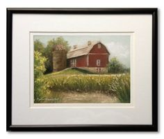 Framed Original Pastel Painting, Durant Farm, 7 x 5 Pastel Painting in 8 x 10 Mat and Frame