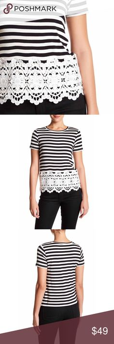 """Lace Midi Top crew neck, mix-media pattern for unique look, front lace paneling, approx. 22.5"""" length, fits true to size, machine wash cold, rayon/polyester blend, lace design made from 100% polyester  🛒Limited quantities so act fast ⁉️I'm happy to answer all your questions, please ask them before you buy so I can make your purchase in my closet absolutely perfect. Tops"""