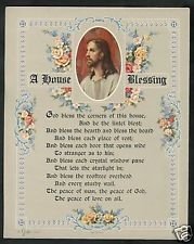 VINTAGE Catholic Victorian House Blessing Print w Jesus House Blessing, Victorian House, Catholic, Blessed, Frame, Vintage, Home Decor, Picture Frame, Victorian Home