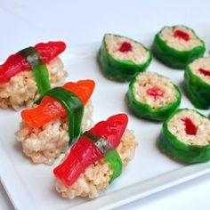 Hilarious. swedish fish rice kripy treat sushi! friday fun project