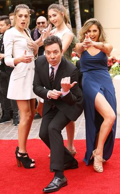 Scarlet Rose Stallone, Sophia Rose Stallone, Sistine Rose Stallone & Jimmy Fallon from The Big Picture  The funnyman and 2017Miss Golden Globes get silly on the carpet during the 74th Annual Golden Globe Awards preview day in Beverly Hills.