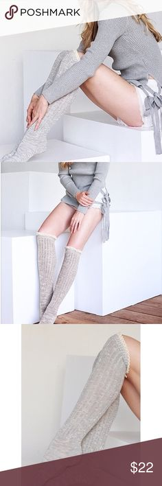 "Ruffle Over Knee Boot Socks Light Grey over the knee ribbed , ruffle boot socks. 95% cotton, 5% spandex. One size fits all.   ▫️Add to Bundle"" to add more items in my closet or ""Buy"" to checkout here with your size.  ↓Follow me on Instagram ↓         @ love.jen.marie Jennifer's Chic Boutique Accessories Hosiery & Socks"