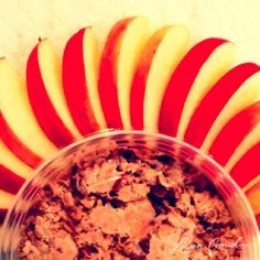 healthy snack {sliced apples + flax cereal}