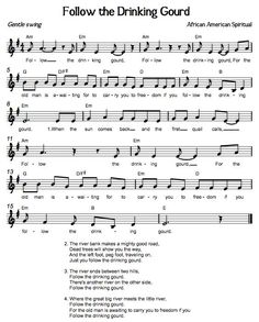 Printables Follow The Drinking Gourd Worksheets traditional lyrics and songs on pinterest one of my favorite mued blogs ever beths music notes follow the drinking gourd