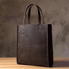 Handmade Crazy Horse Leather Tote Bag, Shopping Bag, Leather Shoulder Bag For Women 0669 Model...