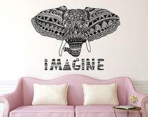 Imagine Elephant Wall Decal Vinyl Stickers Yoga Decals Tribal Buddha Lotus Om Ganesh Home Decor Elephant Wall Art Boho Bedding Bedroom x163