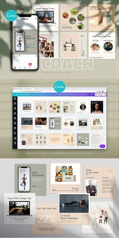 COACH - Canva Instagram Template  Instagram Canva Template for coaches, teachers, food bloggers, podcasters, personal trainers, nutrition experts and entrepreneurs. Featuring eye-candy minimalistic template designs to get your audience and sell your digital offers and courses. Coach Instagram, Instagram Posts, Branding Template, Cosmetic Shop, Checklist Template, Brand Building, Coaches, Colorful Backgrounds, Trainers