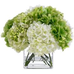 BLOOMS by Diane James Green & White Hydrangea Bouquet ($375) ❤ liked on Polyvore featuring home, home decor, floral decor, flowers, plants, fillers, backgrounds, diane james, hydrangea bouquet and flower stem