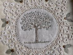 Embroidery and doily - gentlework: keep a green tree in your heart.....