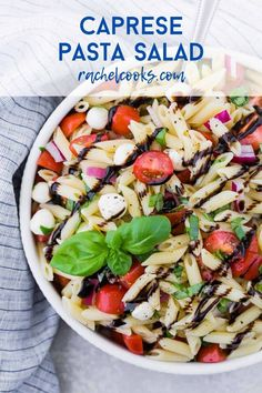 The traditional flavors of caprese, fresh mozzarella, basil, and tomato, are wonderfully represented in caprese pasta salad. Perfect for picnics, or a light summer dinner. Caprese Pasta Salad, Summer Pasta Salad, Pasta Salad Recipes, Healthy Salad Recipes, Lunch Recipes, Cooking Recipes, Dinner Recipes, Light Summer Dinners, Make Ahead Salads