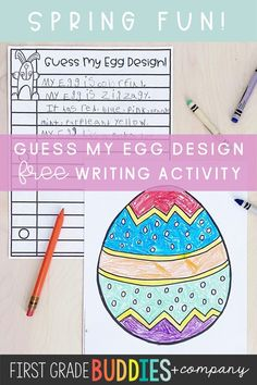 Get students creative with this spring writing activity! Students decorate the egg, write a detailed description, and guess each other's eggs! Fun for all elementary classrooms! 2nd Grade Classroom, Primary Classroom, Kindergarten Classroom, Future Classroom, Classroom Ideas, Easter Activities For Kids, Spring Activities, Upper Elementary Resources, Writing Activities