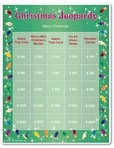 Printable Christmas Jeopardy More upcycled christmas decorations, hosting christmas party, painted christmas ornaments diy Christmas Games For Family, Xmas Games, Holiday Party Games, Holiday Activities, Holiday Fun, Christmas Holidays, Christmas Parties, Christmas Ideas, Xmas Party