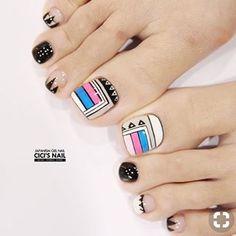 Hottest Trends for Acrylic Nail Shapes Cute Pedicure Designs, Simple Nail Art Designs, Toe Nail Designs, Pedicure Nail Art, Toe Nail Art, Karma Nails, Indian Nails, Diamond Nail Art, Pretty Toe Nails