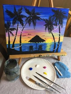 How To Paint Tropical Sunset - Step By Step Painting Acrylic painting tutorial for beginners how to paint a palm tree sunset with silhouettes. Learn with guided pictures and a video. Cute Canvas Paintings, Canvas Painting Tutorials, Mini Canvas Art, Acrylic Painting For Beginners, Happy Paintings, Acrylic Painting Canvas, Diy Painting, Tropical Paintings, Diy Canvas Art