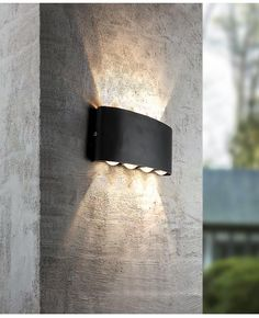 The Anemo Outdoor Wall Lamp was conceived for outdoor installation and has an degree of protection. The aluminum housing is dust-proof and also protected against the penetration of water jets, so it can easily be attached to various outer f. Modern Exterior Lighting, Modern Outdoor Wall Lighting, Outdoor Sconce Lighting, Exterior Light Fixtures, Outdoor Wall Lamps, Garage Lighting, Outdoor Light Fixtures, Porch Lighting, Outdoor Walls