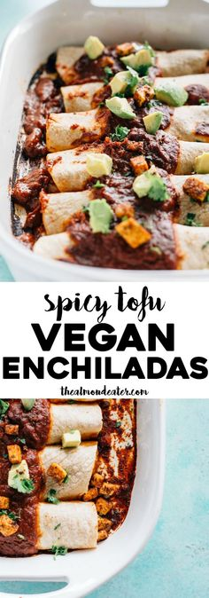 Spicy Tofu Vegan Enchiladas Delicious enchiladas filled with crispy tofu black beans and diced tomatoes topped with a spicy chipotle sauce and avocados Vegan Mexican Recipes, Vegan Dinner Recipes, Veggie Recipes, Whole Food Recipes, Vegetarian Recipes, Cooking Recipes, Healthy Recipes, Spicy Tofu Recipes, Vegetarian Mexican