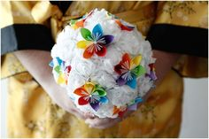 Rainbow origami and tissue paper wedding bouquet