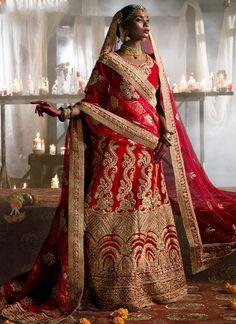 Buy maroon-velvet-wedding-wear-patch-work-a-line-lehenga-347 through Online Shopping from KollyBollyEthnics.com