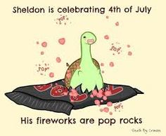 Sheldon is celebrating of July, his fireworks are pop rocks, text; Sheldon the Tiny Dinosaur Sheldon The Tiny Dinosaur, Cute Comics, Funny Comics, Funny Cartoons, Turtle Dinosaur, Dinosaur Dinosaur, Funny Pins, Funny Memes, Jokes
