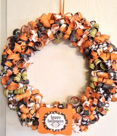 Halloween Curly Paper Wreath #halloween #papercraft #stampinup #craftideas