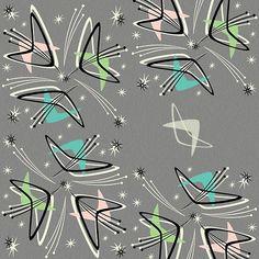 Cosmic Tulips on Textured Gray by studioxtine Mid Century Modern Art, Mid Century Art, Modern Retro, Retro Art, Paper Design, Fabric Design, Bauhaus Textiles, Retro Fabric, Spoonflower