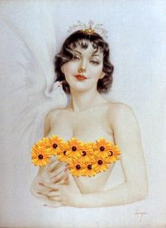 Alberto Vargas. Black Eyed Susans Crown Dove Brunette Pin up