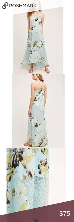"""Anthropologie SZ 8 Rainflower Maxi Dress Gorgeous Rainflower Lace Dress!   Lined Tiered ruffle detail Side zip  Approx 18.5"""" across flat at the bust/ 55""""L in front, 57"""" at back Anthropologie Dresses Maxi"""