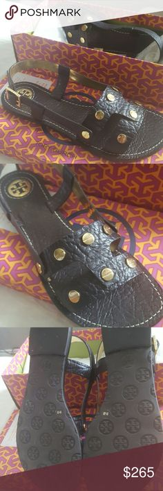 🆕BRAND NEW!Tory Burch Sandals🆕 SUPER CUTE Tory Burch slingback authentic leather sandals. Amandine style. will come with box. its a very dark brown closer to black. size 9.5. have not been worn. price firm Tory Burch Shoes Sandals