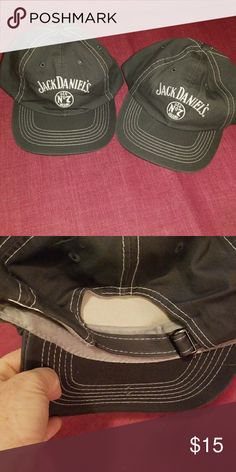 Pair of gray jack Daniels hats Set of 2 of the same gray jack Daniels baseball style cap NWOT adjustable strap at back Jack Daniels Accessories Hats
