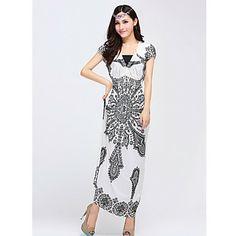 TS Bohemia Classic Pattern V-neck Short Sleeves Beach Maxi Dress(Random Prints) – USD $ 20.29