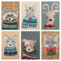 I'm floored by these pen and line technique original animal illustrations with geometric sweaters inspired by Mexican illustrator Indi Maverick. These were done by my 7-9 year olds!