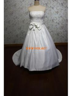 Elegant Designer Strapless Ball Gown Ivory Satin Wedding Dre...