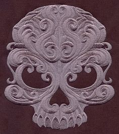 BAROQUE PUNK SKULL - Machine Embroidery Quilt Blocks (AzEB). $29.95, via Etsy.