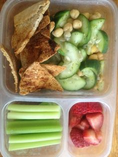 Lite Lunches: Chickpea Cucumber Salad, Multigrain Pita Chips, Celery & Strawberries! Only 387 calories!