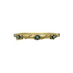 Victorian Revival 14K Gold Persian Turquoise Bangle Bracelet, c. 1950. $950