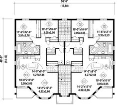Multi unit 2 bedroom condo plans google search modern for Quad apartment plans