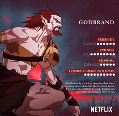 """Godbrand is a prominent antagonist appearing in Season 2 of the Castlevania animated series. a viking vampire that loves hunting, killing, having sex and """"turning humans into boats"""". Castlevania Dracula, Castlevania Anime, Castlevania Netflix, Castlevania Lord Of Shadow, Dark Fantasy, Fantasy Art, Lord Of Shadows, Video Game Anime, Alucard"""