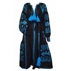 Black and Blue Vyshyvanka Embroidered Long Dress
