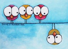 ACEO Print Acrylic Folk Fine Art animal pet illustration birds on a wire odd one #IllustrationArt