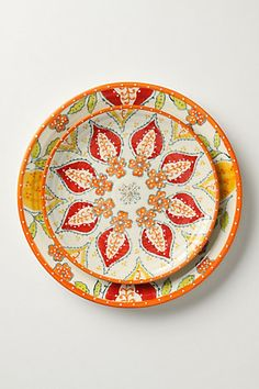 anthropologie sliced persimmon salad plates, dinner plates and bowls. Ceramic Plates, Ceramic Pottery, Decorative Plates, Painted Pottery, Plates And Bowls, Plates On Wall, Plate Wall, Salad Plates, Red Plates