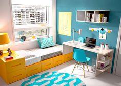 Dormitorio Juvenil con cama modular y Escritorio