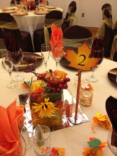 Fall Wedding Decor on a glass mirror, adds a little something