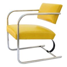 I love the sunny yellow of this chrome and leather chair. Contact dealer for price. It's been in an exhibition so this is probably a fantasy piece for most people.