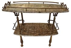 One Kings Lane - Into the Drink - Abalone & Brass Bar Cart