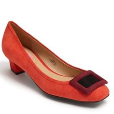 """Isaac Mizrahi 'Perry' Pump Pumps. Color-blocked buckle furthers the vintage vibe of a striking suede pump. Red, purple, and black colors. 1 1/2"""" heel. Leather upper and lining/synthetic sole. SIZE TIP: True to size. Gently worn. NO TRADES. Isaac Mizrahi Shoes Heels"""