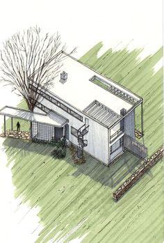 20 Beautiful Axonometric Drawings of Iconic Buildings,Gropius House / Walter Gropius + Marcel Breuer / 1938 . Image Courtesy of Diego Inzunza - Estudio Rosamente