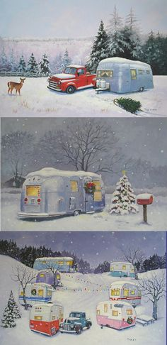 Christmas time in the vintage trailer park :) Vintage Campers Trailers, Retro Campers, Camper Trailers, Happy Campers, Vintage Airstream, Vintage Rv, Vintage Caravans, Vintage Prints, Christmas Past
