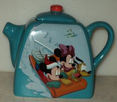 Disney Houston Harvest Mickey Minnie Mouse Pluto Sledding Christmas Small Teapot ~Free Shipping~ $24.99
