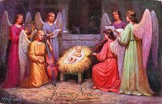 Joyeux Noël - Dans une étable six anges donnent un concert à l'Enfant Jésus couché sur une mangeoire - 1913 (from http://mercipourlacarte.com/picture?/1400/)