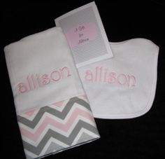 Personalized Baby Gift Set Bib and Burp  Pink or by BibsandBurpies, $18.95